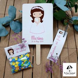 Pack 3 piezas comunión niña morena letras rosas (pai pai-bengala-confeti)