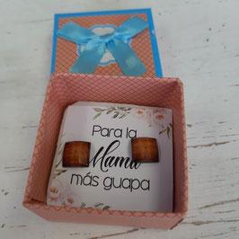 pendientes cuadrados marrones roseado  oscuro caja naranja suave   Pendientes  para  mama mas guapa