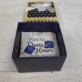 pendientes cuadrados azul caja azul  Pendientes   dama de honor elegancia