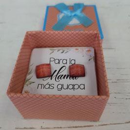 pendientes cuadrados naranja oscuro caja naranja suave   Pendientes  para  mama mas guapa