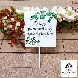 Piruleta de agradecimiento hojas verdes