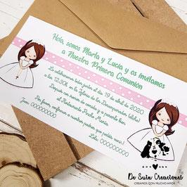 Invitación comunión gemelas 2 niñas con topitos letra verde