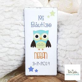 Tableta de chocolate buho (Bautizo)