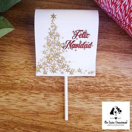 Piruleta Navidad árbol dorado con estrellas