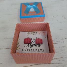 pendientes cuadrados naranja roseado  oscuro caja naranja suave   Pendientes  para  mama mas guapa