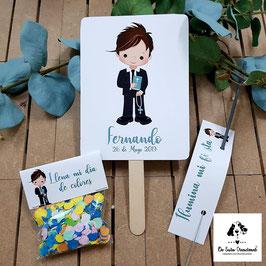 Pack 3 piezas comunión chico celeste (pai pai-bengala-confeti)