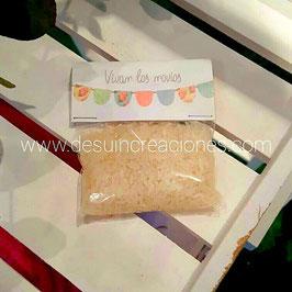 Bolsita de arroz colección banderines pastel