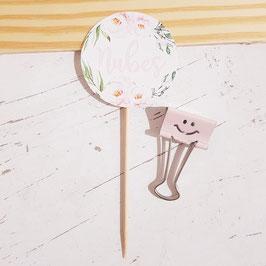 Tarjeta con palito flor elegancia cumpleaños niña