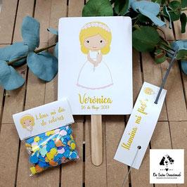 Pack 3 piezas comunión niña rubia letras amarillas (pai pai-bengala-confeti)