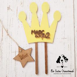 Topper para tarta corona amarilla cumpleaños
