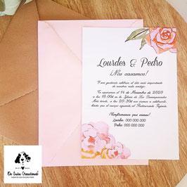 Invitación rosa acuarela
