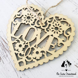 10 Unidades corazón LOVE en madera