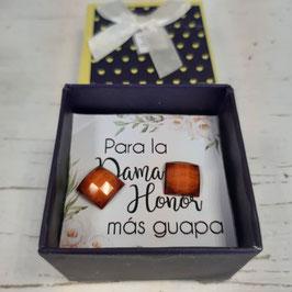 pendientes cuadrados naranja oscuro caja azul  Pendientes   dama de honor elegancia