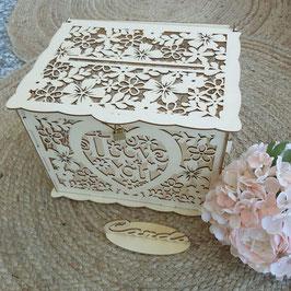 Caja de los deseos I love you    Buzón de los deseos en madera (Se envía desmontado)