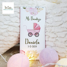 Tableta de chocolate carrito rosa (Bautizo)