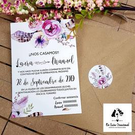 Invitación plumas con pegatina para el sobre