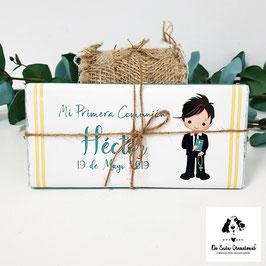 Tableta de chocolate comunión chico horizontal celeste