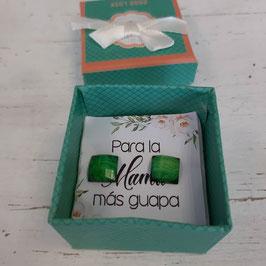 pendientes cuadrados verdes  oscuro caja VERDE  suave   Pendientes  para  mama mas guapa