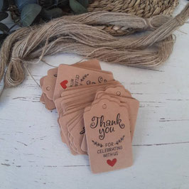 tarjetas kraft  con cuerda- modelo   corazon rojo thank you  celebrating ch 3 x3cm unidad