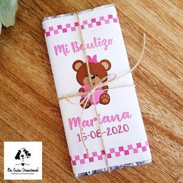 Tableta de chocolate bautizo osita rosa