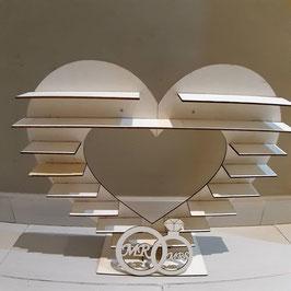 corazon en madera   grande  32cm modelo  - con anillos MR & MRS ch  modelo para madalenitas , cupcake ,detalles ,etc