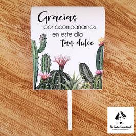 Piruleta de agradecimiento colección cactus