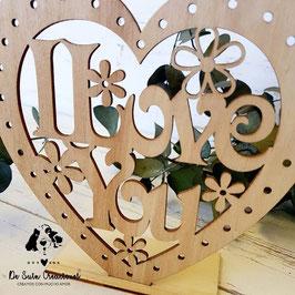 Portavelas de madera I Love You corazón