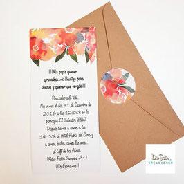 Invitación flor de papel