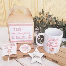 kit bautizo bebé para madrina ¿Quieres ser mi madrina? CAAS/CH/TAZ/PIR/ Disponible en ROSA O AZUL