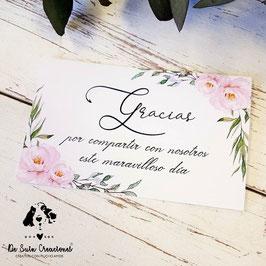 Tarjeta agradecimiento colección aroma y elegancia