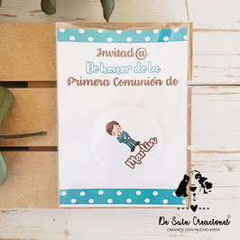 Chapa comunión de 3,8cm con tarjeta colección topitos chico