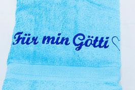 """Duschtuch """"Für min Götti"""" - azurblau"""
