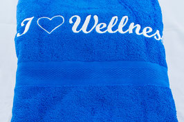 "Duschtuch ""I love Wellness"" - royal"