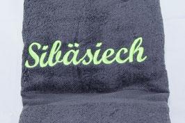 """Duschtuch """"Sibäsiech"""" - anthrazit"""