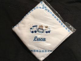 Baby-Kapuzentuch hellblau + indiv. Namen
