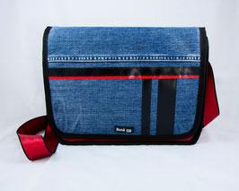 Tasche Jeans/Rot/Schwarz