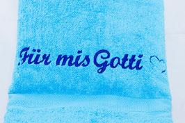 """Duschtuch """"Für mis Gotti"""" - azurblau"""