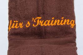 """Duschtuch """"für s'Training"""" - braun"""