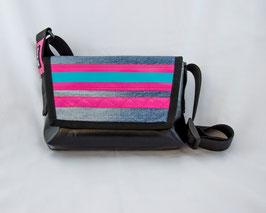 Tasche Schwarz/Jeans/Pink mit Streifen