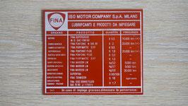 Typenschild Iso Fina / type plate Iso Fina / Targhetta Iso Fina