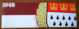 150 Köln rot weiss Zahl und Wappen Aufkleber