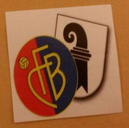 150 Basel Stadt und Vereinslogo 6x6 Aufkleber