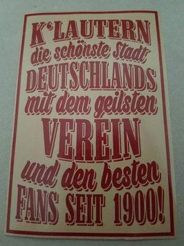 150 Kaiserslautern die schönste Stadt Riesen Aufkleber