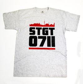 Stuttgart 0711 roter Balken Shirt Grau
