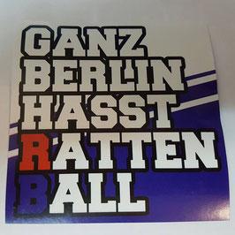 150 Ganz Berlin hasst Rattenball Aufkleber
