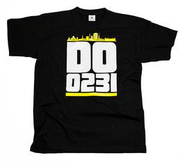 Dortmund 0231 gelbe Skyline Shirt Schwarz