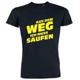 Aus dem Weg ich muss saufen Shirt Schwarz mit Gelb