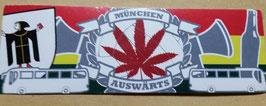 150 München Auswärts Hanfblatt Aufkleber