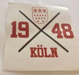 Köln 1948 Kreuz Aufkleber