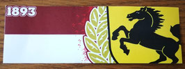 150 Stuttgart rot weiss Zahl und Wappen Aufkleber